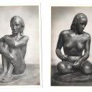 2 RPPC Nude Sculpture Hockende Sinnende Richard Scheibe 4X6 Art Postcards Berlin