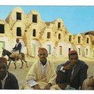 Tunisia Medenine Berber Men in front of Ghorfas Storage Building Donkey 4X6 Postcard