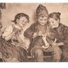 Artist M Wunsch Aller Anfang ist Schwer Children Knitting Kunstverlag Sepia Art Postcard