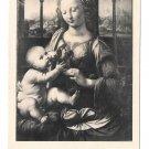 Leonardo Da Vinci Madonna and Child Virgin and Infant Noyer Framce Postcard