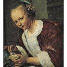"Jan Steen Girl Eating Oysters Dutch Artist Mauritshuis Haag Museum LG 7""X5"" Postcardcard"