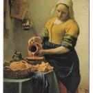 Johannes Vermeer Dutch Artist The Kitchen Maid Painting Large Postcard 7X5