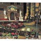 Italy Florence Piazza Della Signoria Night Flower Exhibition Vntg 4X6 Firenze Postcard