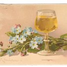Beim Glase Wein Forget Me Nots Glass of Wine Meissner and Buch Art Postcard