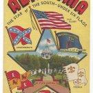 AL Large Letter Alabama Star of the South Six Flags Vintage 1942 Linen Postcard