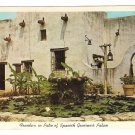 TX San Antonio Fountain in Patio Spanish Governors Palace Vintage Texas Postcard
