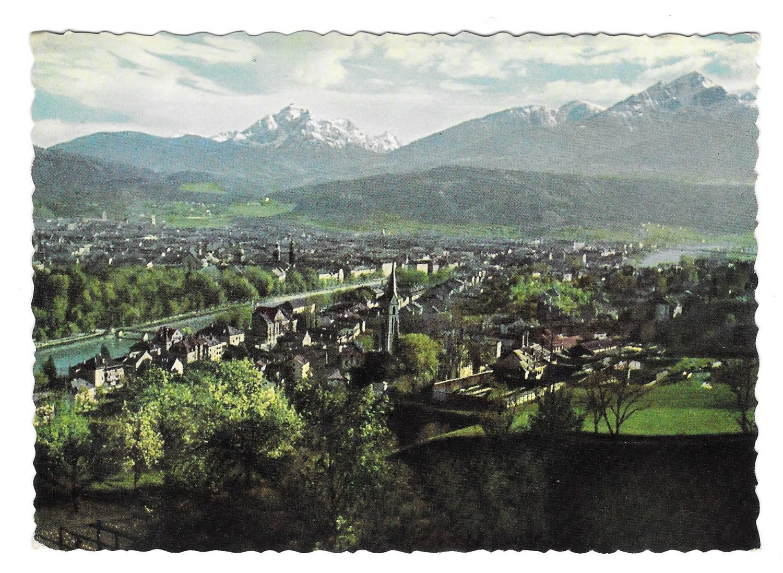 Austria Alps Tyrol Innsbruck mit Serles und Nocckspitze Aerial View 4X6 Postcard