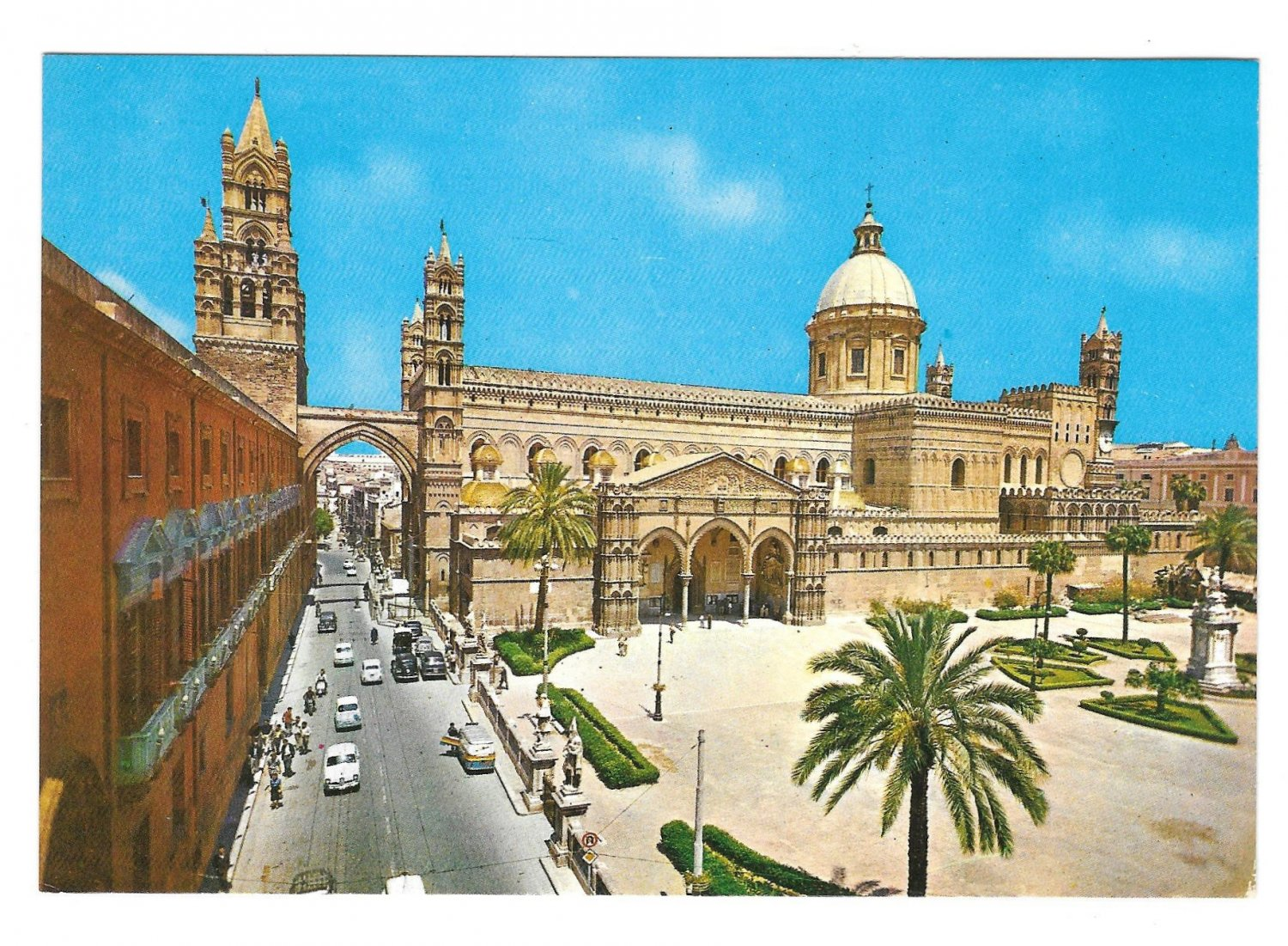 Italy Sicily Palermo Cathedral and Archiepiscopal Palace Vintage 4X6 Postcard