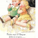 Mauzan French Artist Signed Children Parlez D'Amour Speak to me of Love Humor Postcard