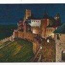France Cite de Carcassonne Chateau Comtal Fort Citadel Night View Postcard 4X6