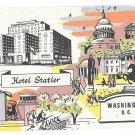 Hotel Statler Washington DC Vtg Multiview Illustrated Advertising Postcard