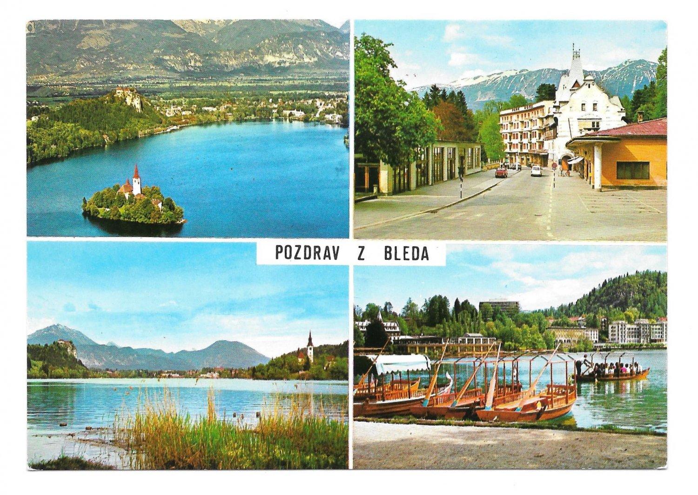 Slovenia Yugoslavia Bled Greetings Bleda Multiview Fotolik Celje 4X6 Postcard