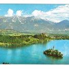 Slovenia Yugoslavia Lake Bled Island Panorama Julian Alps 4X6 Postcard