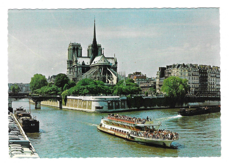France Paris Notre Dame Boats on River Seine Panoramic View Postcard 4X6
