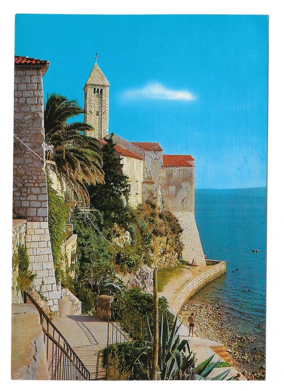 Croatia Rab Island Adriatic Sea Cliffs Old Town Vjesnik Zagreb 4X6 Vtg Postcard