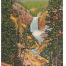 Yellowstone Park Grand Canyon Lower Falls from Artist Point Posted 1954 Linen Postcard
