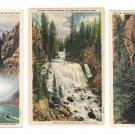 WY Yellowstone Park Tower Waterfall Lower Falls Kepler Cascade Haynes 3 Linen Postcards