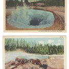 WY Yellowstone Park Punch Bowl Spring Morning Glory Pool 2 Haynes Vntg Linen Postcards
