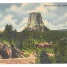 Black Hills WY Devils Tower National Monument Near Gilette Wyoming Linen Postcard