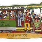 CA San Francisco Powell and Mason St Cable Car Turntable Die Cut Postcard 10X4