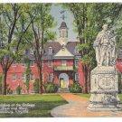 Williamsburg VA Wren Building College of William and Mary Curteich Vntg Linen Postcard