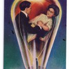 Lovelights Break Away Romance Couple in Lightbulb Victorian Postcard c1900s