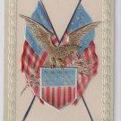 USA Patriotic Flags Eagle Paul Finkenrath Bas Relief Silver Gold Inlay Postcard PFB