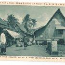 Hamburg Amerika World Cruise Steamer SS Resolute Malaysia Native Village 1931 Postcard