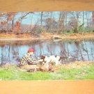 Vintage Pheasant Hunting Man & Dog Postcard