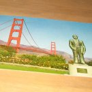 Vintage Strauss Statue And Golden Gate Bridge San Francisco, CA Postcard