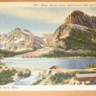 Vintage Many Glacier Hotel Swiffcurrent Lake And Mt. Grinnell Postcard
