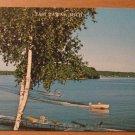 Vintage East Tawas Michigan Water Skier On Lake Postcard
