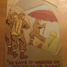 Vintage War Soldiers Jumping Out Of Plane Comic Postcard