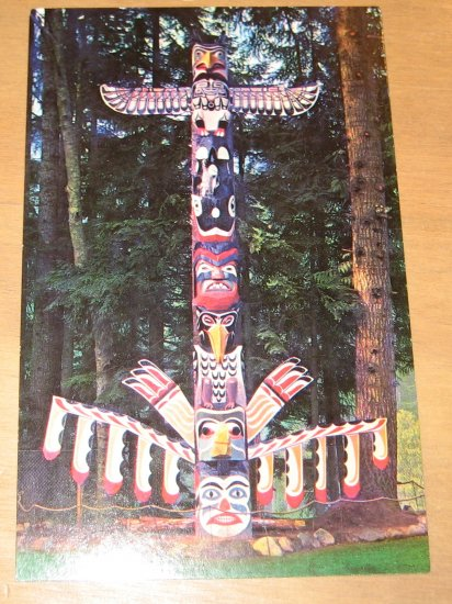 Vintage Totem Pole Capliano Suspension Bridge Vancouver Canada Postcard