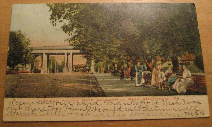 Vintage Madison Avenue Gate Druid Hill Park Baltimore Maryland Postcard