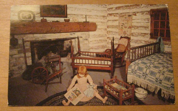 Vintage Bedroom of Log Cabin Witte Museum San Antonio Texas Postcard