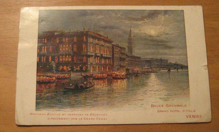 Vintage Grand Hotel D'Italie Venise Postcard Bauer Grunwald
