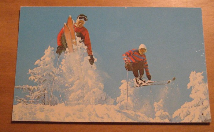 Vintage Skiing And Fast Jump Along The Trail Postcard