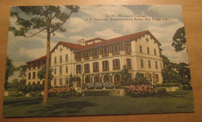 Vintage Woman's Cottage Us Veterans Admin Home FL Postcard