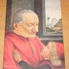 Vintage Portrait Of An Old Man And His Grandson Painting By Domenico Grillandajo Postcard