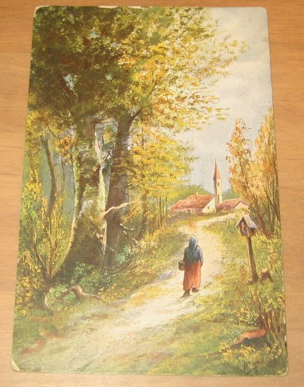 Vintage Girl Walking On Country Lane Painting By Artist Monopol Postcard
