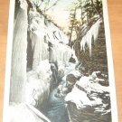 Vintage Rainbow Falls Wintertime Watkins Glen New York Postcard