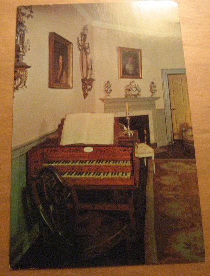 Vintage The Music Room At Mount Vernon Postcard