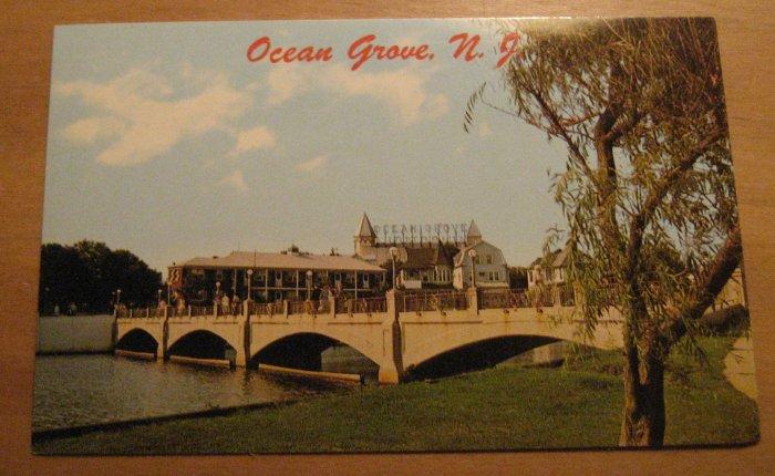 Vintage Ocean Grove New Jersey Wesley Lake Bridge Postcard