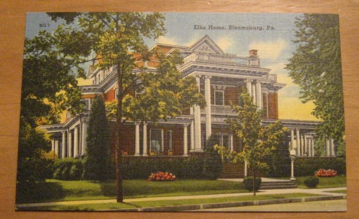 Vintage Elks Home Bloomsburg PA Postcard