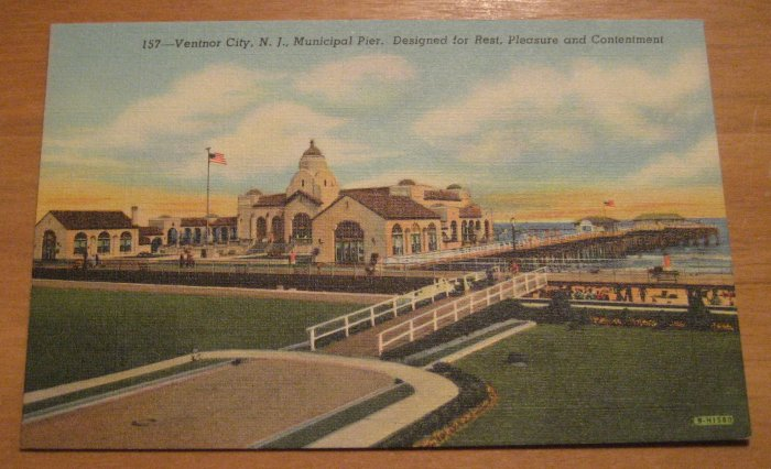 Vintage Ventnor City New Jersey Municipal Pier Postcard
