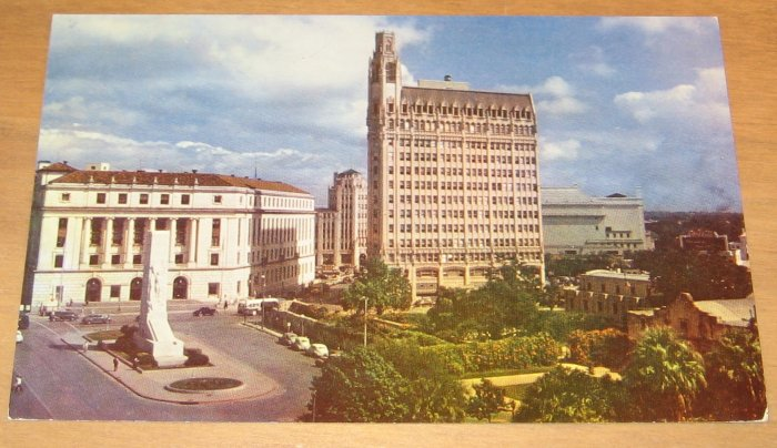 Vintage Alamo Plaza  At Houston Street San Antonio Texas Postcard