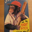 Vintage Just Waiting For Right Pitch From You Monkey Baseball Player Postcard