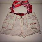 Cute Handmade White Jean Shorts Purse Bag