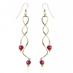 GOLDFILLED SWIRL RUBY EARRINGS